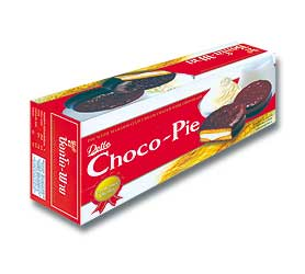 choco pie pie with marshmallo cream coated with chocolate